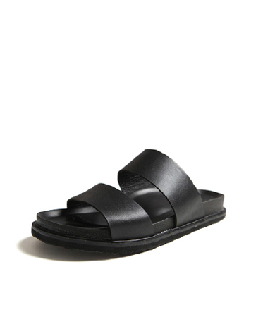 BLACK DOUBLE LEATHER SANDALS