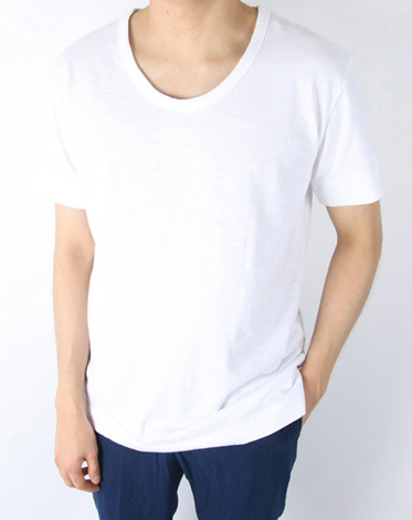 cotton half u neck T (4 color)