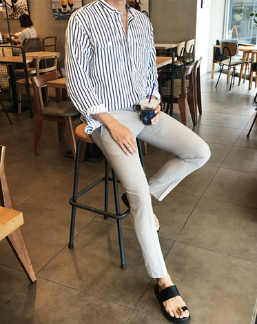 LINEN TWO POCKET STRIPE SHIRT (2 COLOR)